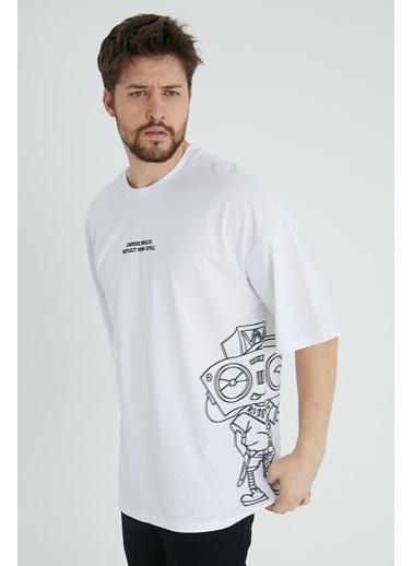 XHAN Taş Rengi Robot Kafa Baskılı Oversize T-Shirt 1Kxe1-44639-56 Beyaz